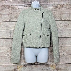 Tinley Road Gray Cotton Button Zip Jacket Med